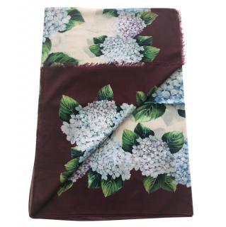 Dolce & Gabbana Hydrangea print cotton scarf wrap