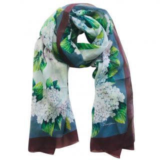 Dolce & Gabbana Hydrangea print silk scarf wrap