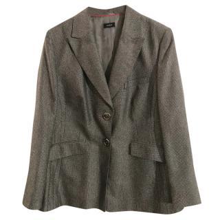 Basler virgin wool charcoal & silver grey tweed suit jacket