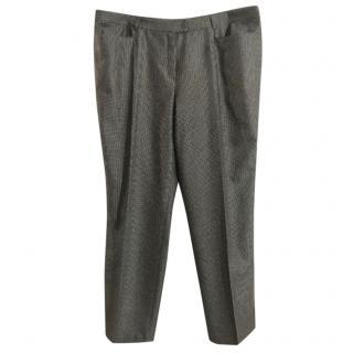 Basler virgin wool blend grey tweed tapered trousers
