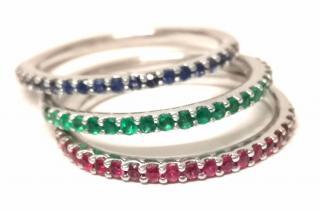 Bespoke Emerald, Ruby, Sapphire Eternity Stack Rings White Gold