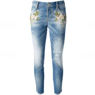 DSquared2 Flower-Embellished Distressed Jeans