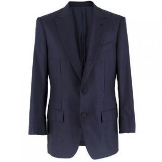 Ermenegildo Zegna silk and wool-blend navy suit jacket