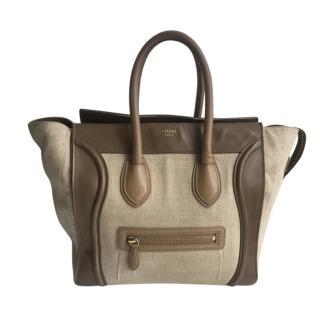 Celine Canvas & Leather Mini Luggage Tote