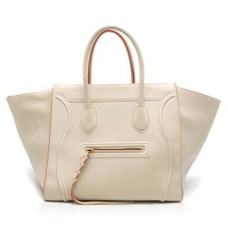 Celine Cream and Orange Calfskin Medium Luggage Phantom Bag
