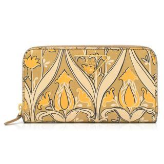 Prada ornate-print saffiano leather continental wallet