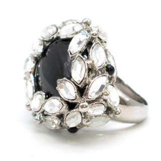 Christian Dior crystal-encrusted cocktail ring