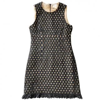 Michael Kors black linen guipure sleeveless dress