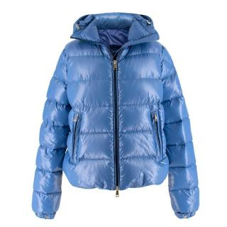 Moncler pearl-blue hooded down coat