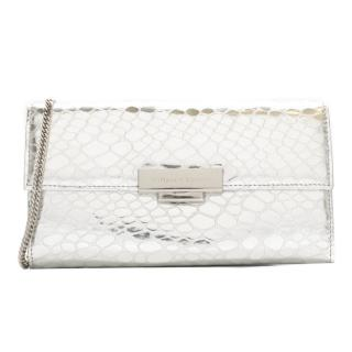 Aspinal of London silver reptile-effect leather wallet bag