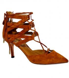 Aquazzura Suede Kitten Heel Sandals
