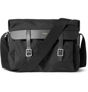 Saint Laurent Black Leather Trimmed Canvas Messenger Satchel Bag