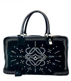 Loewe Black Suede Crystal Embellished Amazona Bag