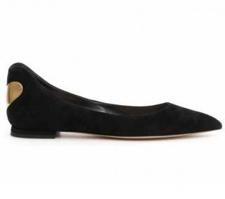 Dior Dioramour Black Suede Ballerina Flats