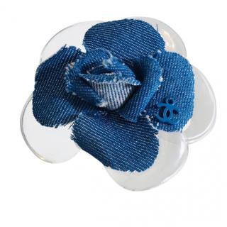 Chanel Camellia Denim & PVC Brooch