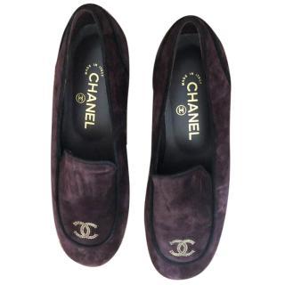 Chanel Bordeaux Suede Loafers