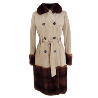 Valentino beige silk mink trench coat