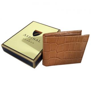 Aspinal tan mock croc wallet
