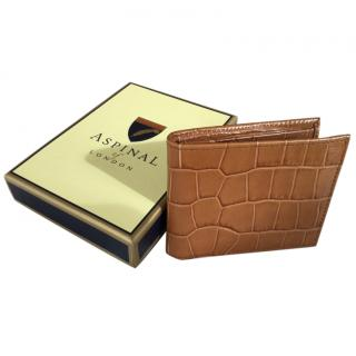 Aspinal tan mock croc wallet