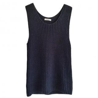 Celine rib knit black top
