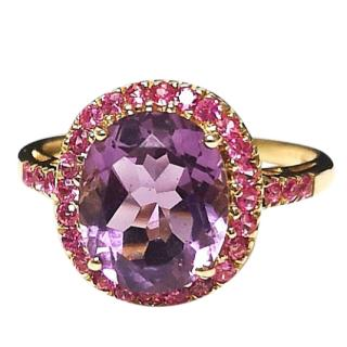 Bespoke Ruby & Amethyst Cluster Ring 9ct Gold