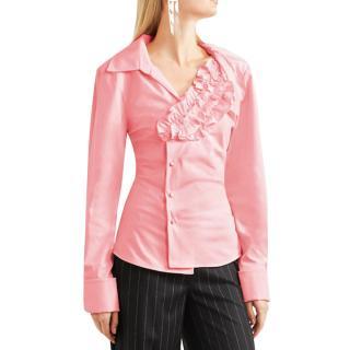 Jacquemus Seville pink ruffled cotton-poplin shirt.