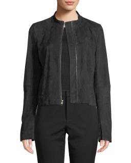Vince suede moto jacket in mineral stone