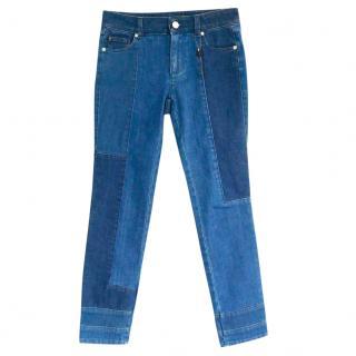 Alexander McQueen Skull Patchwork Cropped Straight Leg Jeans