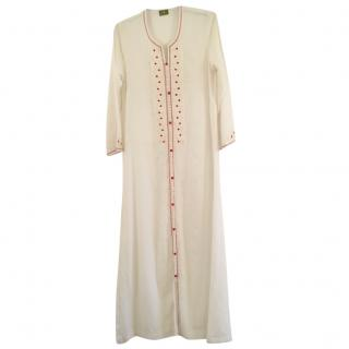 Maison Du Caftan White & Red Embroidered Caftan