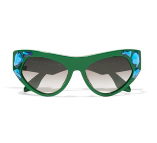 Prada Green Cat Eye Crystal Embellished Sunglasses - Limited Edition