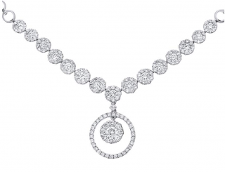 18 ct White Gold Halo Set Diamond Certified G/SI1 Round Drop Necklace of 46 cm