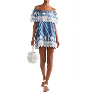 Miguelina Agnes Blue Polka Dot & Broderie Anglaise Mini Dress New