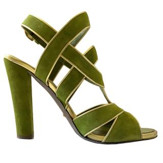 Sergio Rossi Green Suede Pumps With Gold Piping