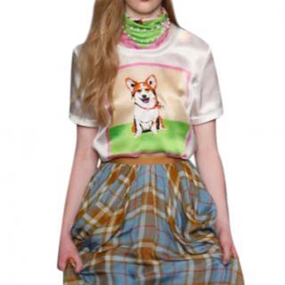 Jenny Packham Corgi Print Silk T-shirt