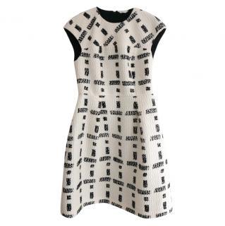 Fendi by Karl Lagerfeld 3D Print Black & White Wool Dress