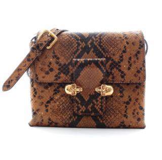 Alexander McQueen Twin Skull Python Leather Crossbody Bag