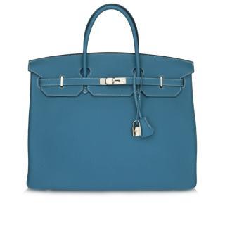Hermes Birkin 40cm Blue Jean Togo Leather Bag