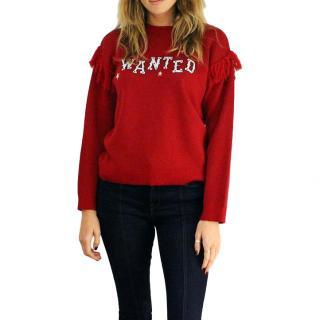 Hayley Menzies merino wool red 'wanted' jumper