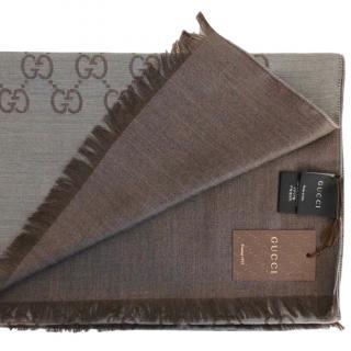 Gucci Brown Silk & Wool Guccissima Scarf