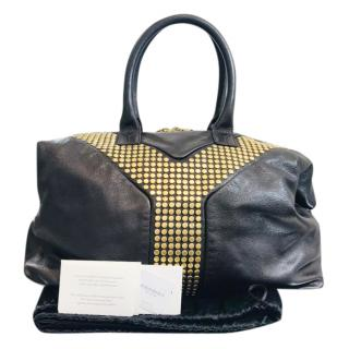 YSL Studded Black & Gold Y Tote Bag