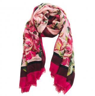 Dolce & Gabbana rose print cashmere scarf