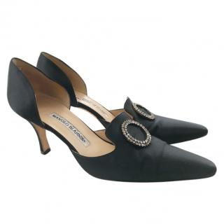 Manolo Blahnik Black Satin Court Shoes