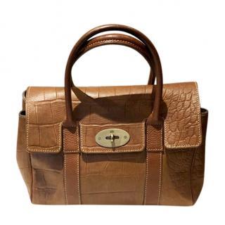 7486edb8b0c48 Mulberry Bayswater Bag - Signature Croc Print Brown Leather