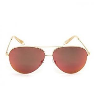 Victoria Beckham Gold Cinnamon Tinted Aviators Sunglasses