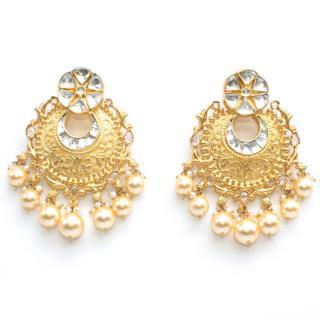 Amrapali Gold & Pearl Filigree Chandelier Earrings