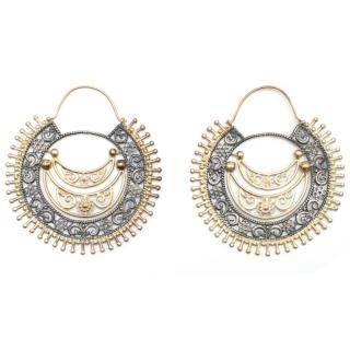 Amrapali Gold tone and Grey Filigree Hoop Earrings