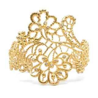 Amrapali Gold Tone Floral Filigree Cuff