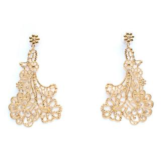Amrapali Gold Tone Floral Filigree Earrings