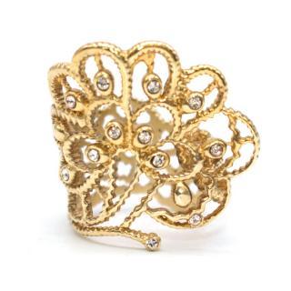 Amrapali Gold Tone Floral Filigree Ring