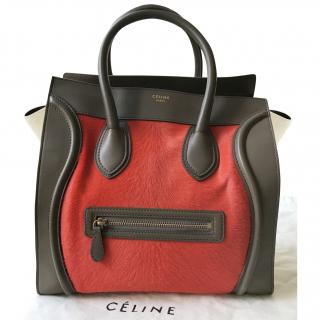 Celine Three Tone Horsehair Luggage Mini Tote Bag